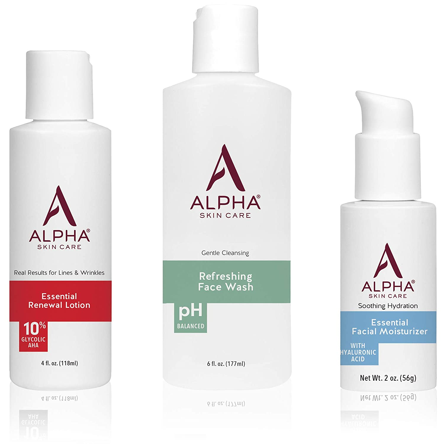 Alpha Skin Care Introductory Kit | Refreshing Face Wash, Essential Renewal Lotion, Essential Facial Moisturizer | Anti-Aging Formula | Reduces the Appearance of Lines & Wrinkles | For All Skin Types