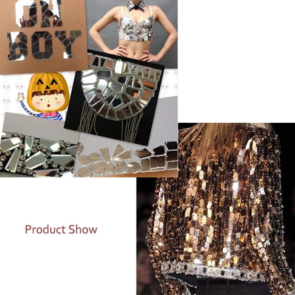 Mixed Size 30pcs 4Colors Acrylic Mirror Sew On Rhinestones Irregular Acryl Mirror Sew On Stones Crystal Strass,Black,Mix Size
