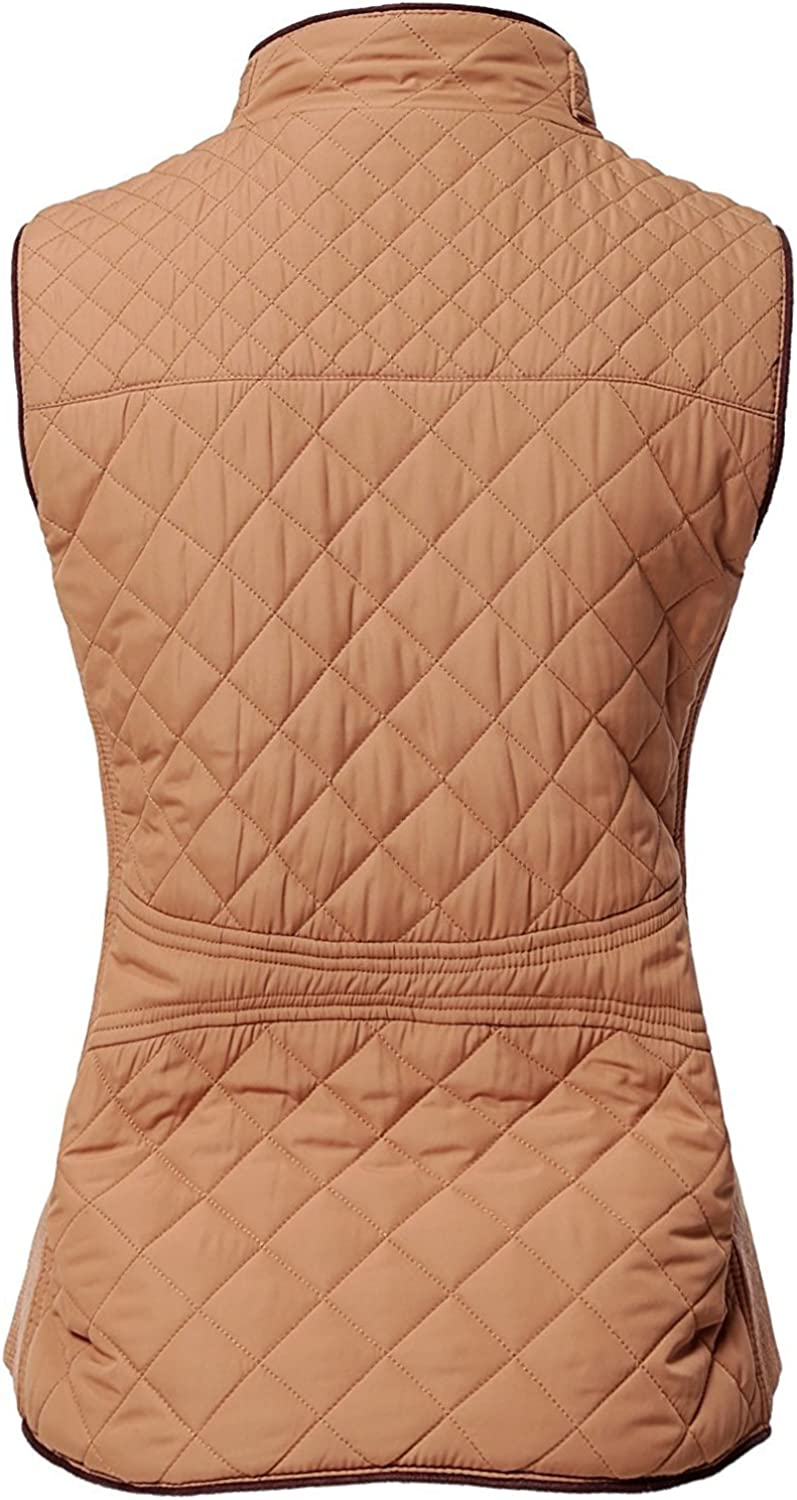 MAYSIX APPAREL Sleeveless Lightweight Zip Up Quilted Padding Vest Jacket for Women S-3XL