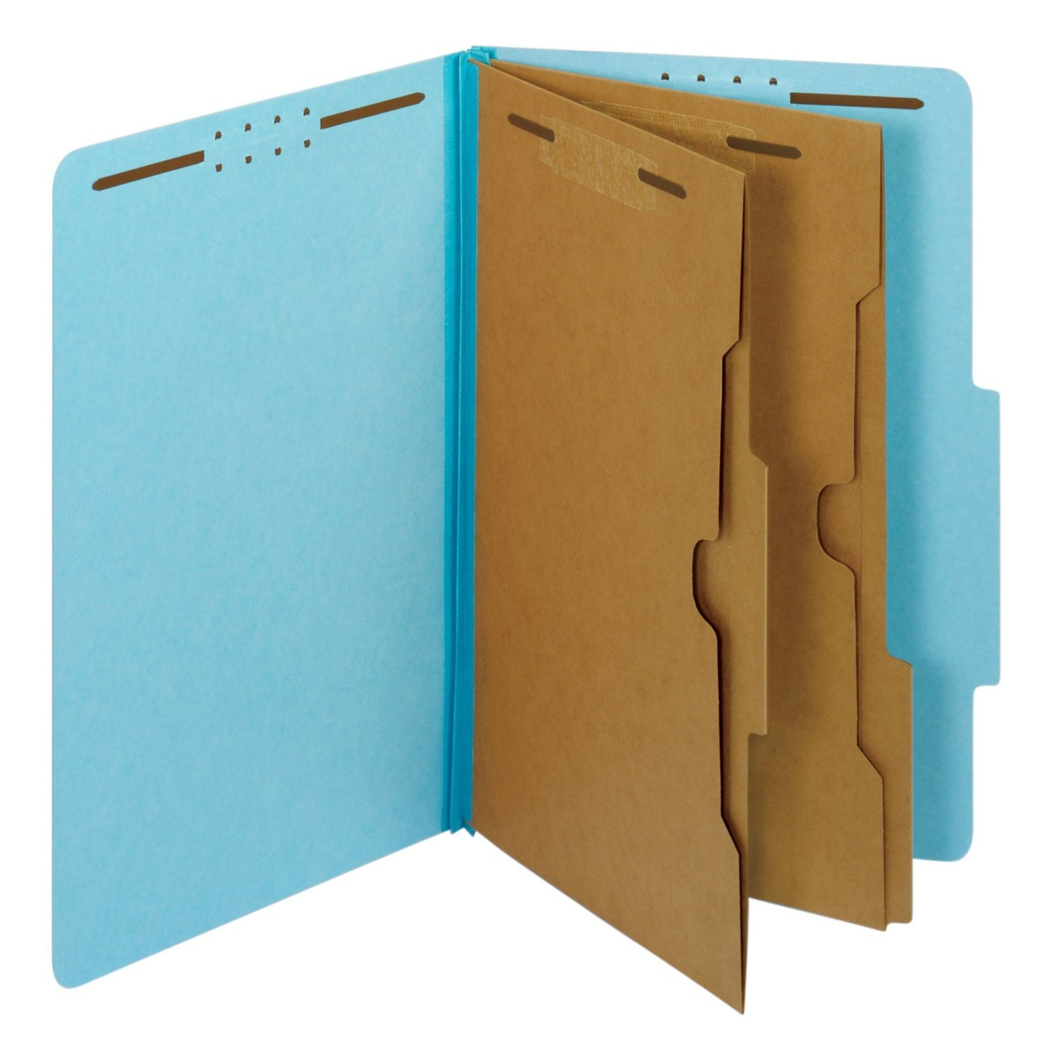 Generic Folders, 2/5 Cut Tab, 2 Pocket Dividers, Embedded Fasteners, Legal Size, Blue
