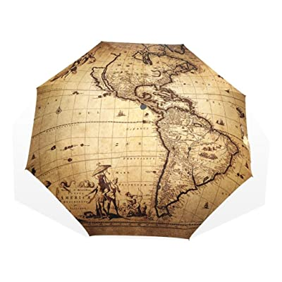 EnnE Umbrella World Map Foldable Compact Umbrella Rain Windproof Travel Umbrella Easy Carrying 8 Ribs UV Protection