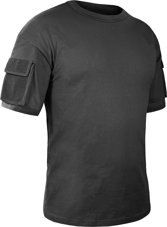Herren Tactical T-Shirt mit Klett-Ärmeltaschen: Amazon.de: Sport & Freizeit
