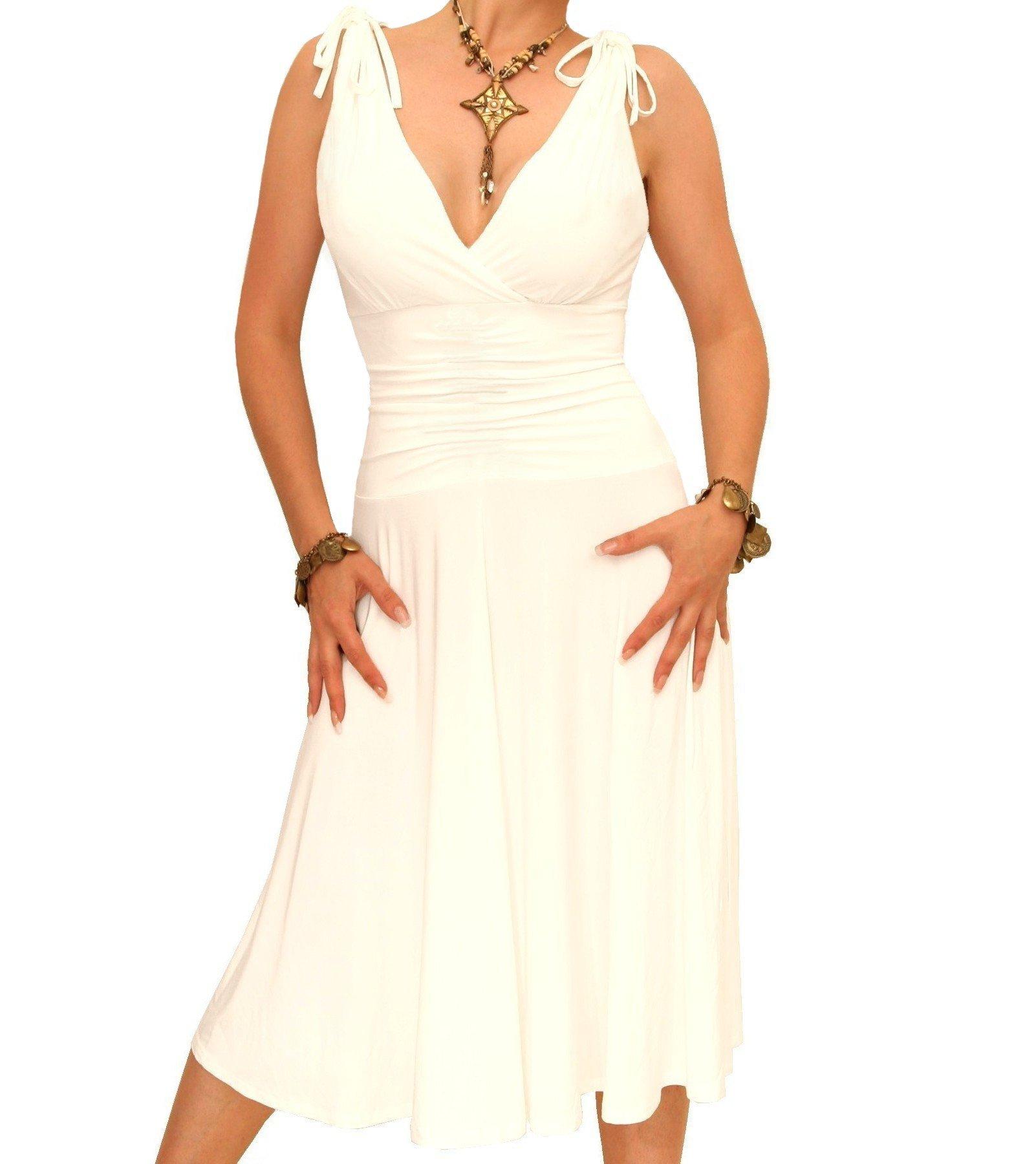 Blue Banana Women's Grecian Style Slinky Dress Ivory US Size 14