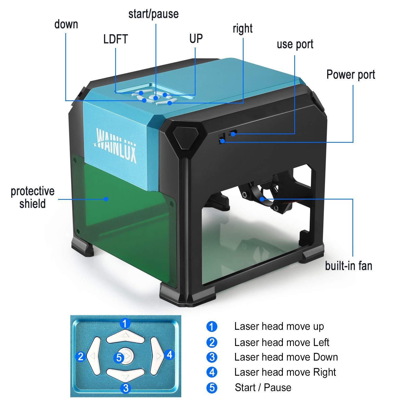 Laser Engraving Machine, 3000mW Mini Desktop Laser Printer Engraver Machine Working Area 80X80mm for DIY Logo(3000mW) by WAINLUX (Image #5)
