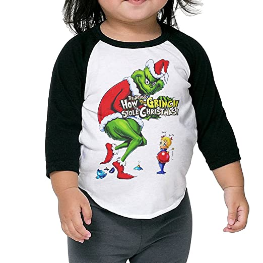 3a05cde6 Amazon.com: Autumn Kids Toddler How The Grinch Stole Christmas Crew Neck  3/4 Sleeves Raglan T Shirts Black US Size 4 Toddler (6606546018796): Books