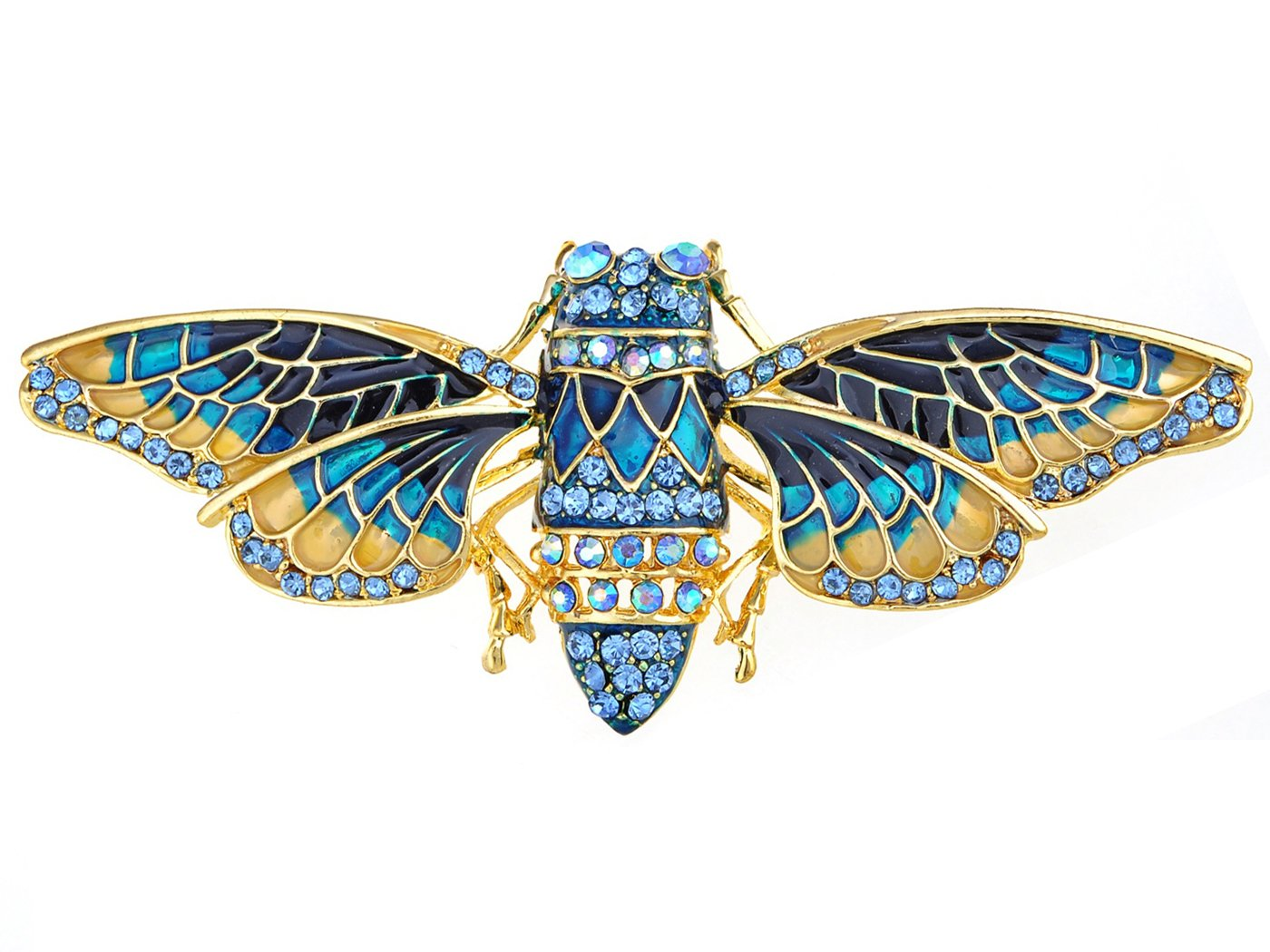 Alilang Golden Tone Blue Sapphire Colored Rhinestone Insect Bug Moth Wings Brooch Pin