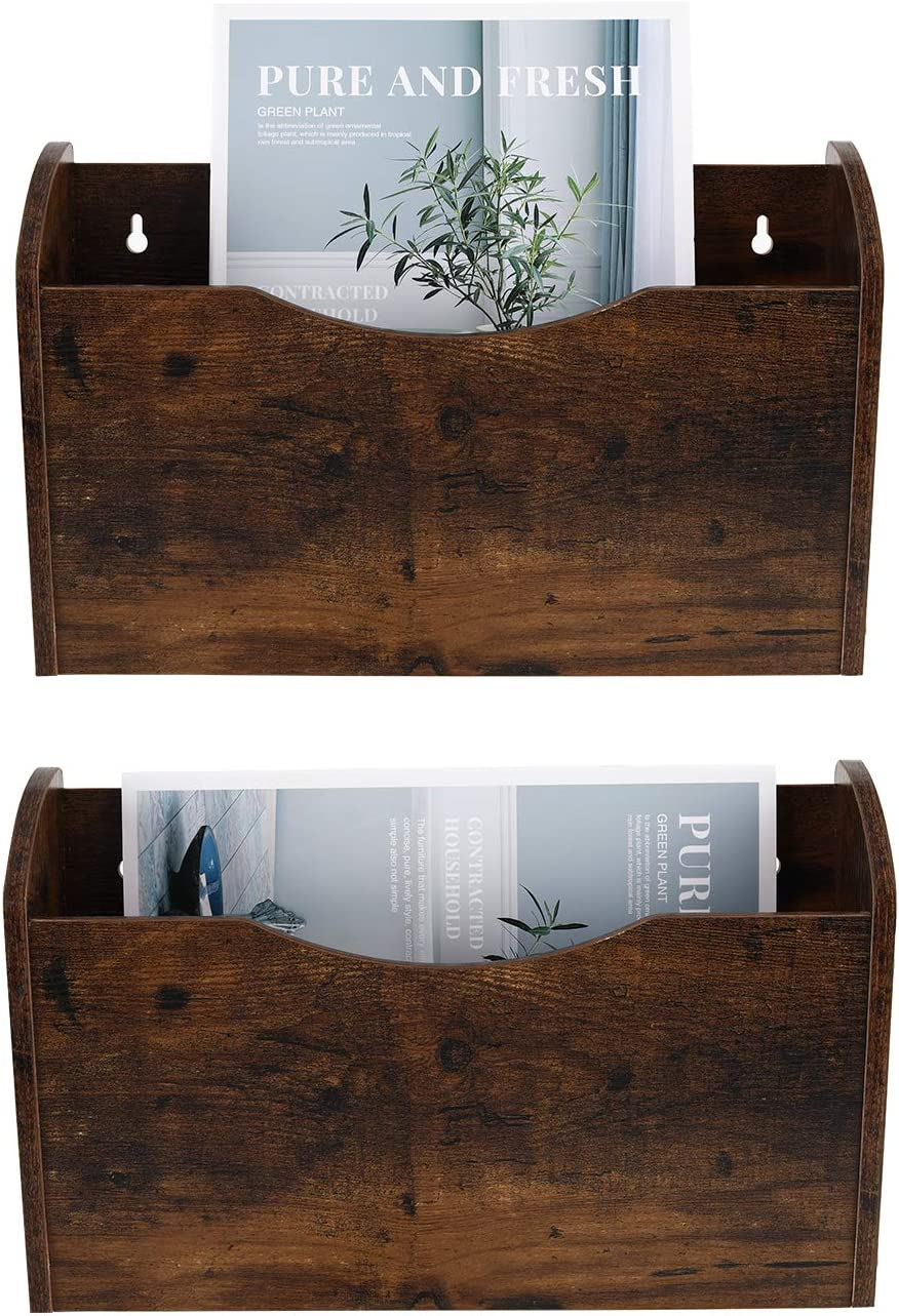 PAG 2 Pockets Hanging File Holder Wall Mount Mail Organizer Wood Magazine Rack, Retro Brown