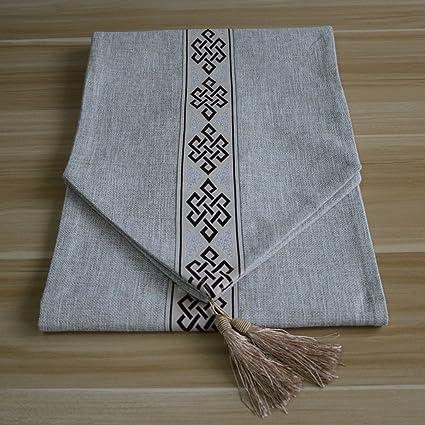 Estilo chino Textura de lino Material espesante Bandera de la mesa Tejido de base seleccionado Decoración de tela ...