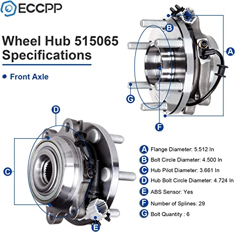 ECCPP Wheel Bearing and Hub Assembly for Nissan Frontier//Pathfinder// Xterra 2005-2009 Professional Grade Wheel Hubs 6 Lugs W//ABS 515065x2