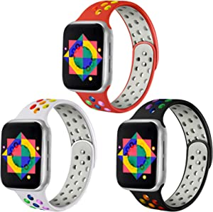 ilopee Rainbow Bands Compatible with Apple Watch 5 40mm Band - Classic Breathable Silicone iWatch Bands 38mm Women Men Series 6 SE 3 2 1, 3 Pack of White/Rainbow Black/Rainbow Red/Rainbow, S/M