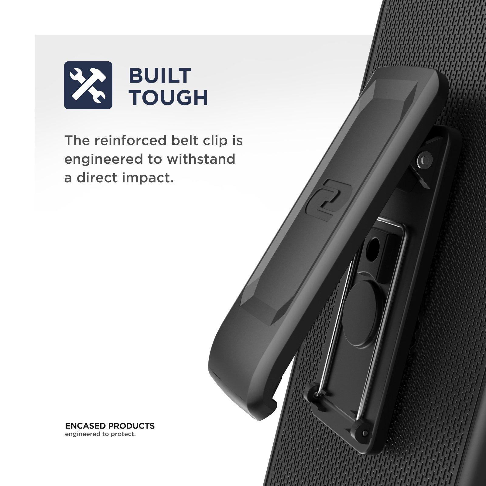 Samsung Galaxy Note 8 Belt Holster, Encased Thin Fit [DuraClip Series] Slim Grip Case & Belt Clip (Smooth Black) by Encased (Image #2)