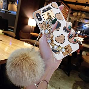 Compatible for iPhone XR 6.1 inch Case,BabeMall Luxury DIY Handmade Clear Heart Bling Plasitic Hard with Fur Plush Ball Strap Chain (Heart Gold)