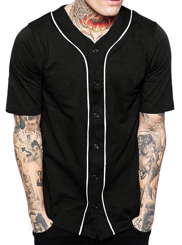 メンズ ベースボール ボタンタウン ジャージ ヒップスター ヒップホップ Tシャツ 1UPA01 B0751KW67Y Medium|ブラック/ホワイト ブラック/ホワイト Medium