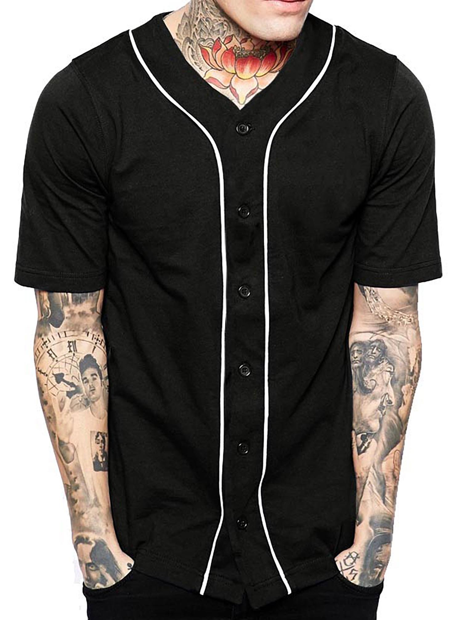 Hat and Beyond Mens Baseball Button Down Jersey Hipster Hip Hop T Shirts 1UPA01 02 (Large, Black/White) by Hat and Beyond