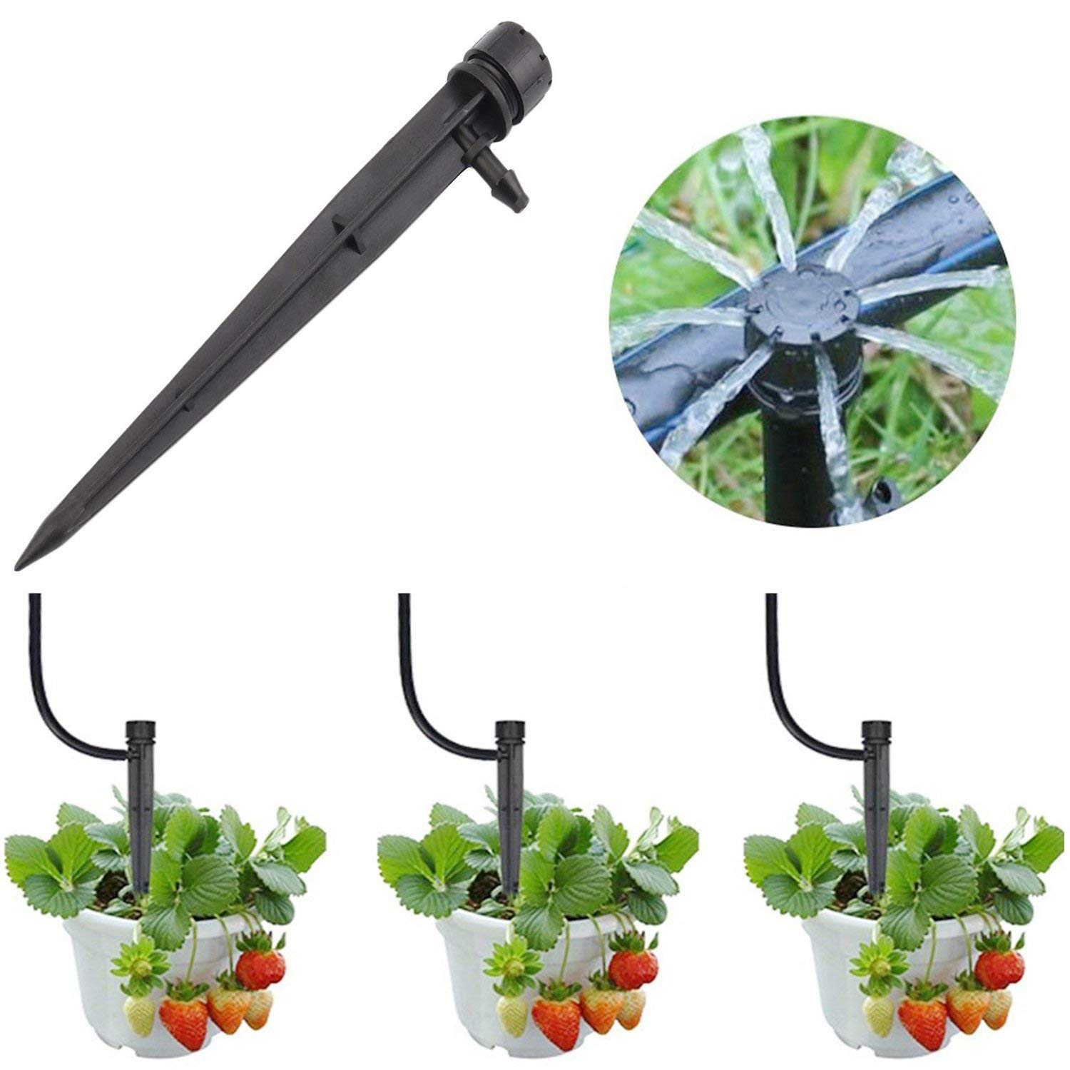 Herbs Gardens. Vegetable Gardens Adjustable 360 Degree Water Flow Drip Irrigation System for Flower beds Drip Emitters Perfect for 4//7mm Tube PE Pipe MANSHU 100pcs Adjustable Irrigation Drippers