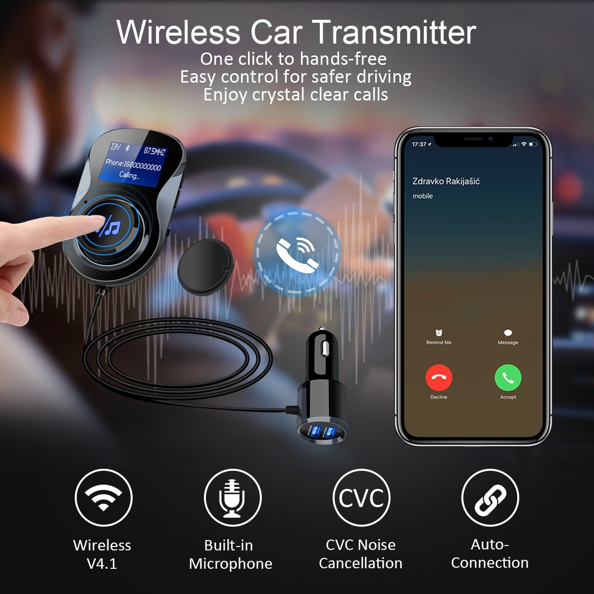 ELEGIANT FM Transmitter Radio Adapter Hands-Free Car Kit with 1.4 Inch Display,Supports TF Card Slot /& Dual USB Charging Ports,Safe Driving with One Key Control Black Bluetooth FM Transmitter