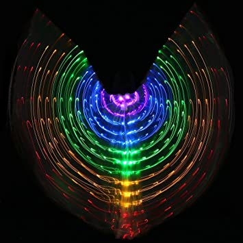 Byjia Mujeres Belly Dancing 5 Luces Led Color Brillante ISIS ...
