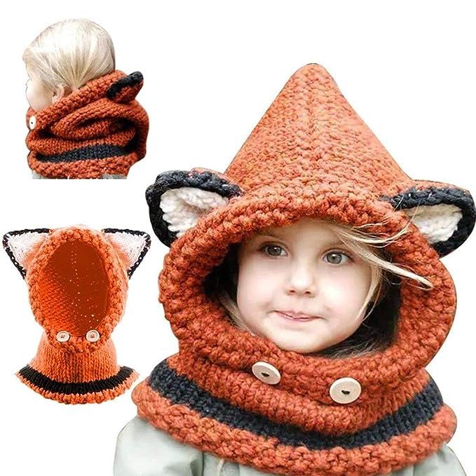 Yousorld Inverno Caldo Coif Cappuccio Sciarpa Caps Cappello Earflap Fox Scialli  di Lana Lavorato a Maglia Cappelli della Protezione per il Bambino Scherza  ... 03850b20cc75