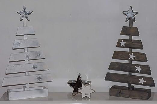 Dekorativer Tisch Weihnachtsbaum aus Massivem Holz, Weihnachtsdeko (Grau)