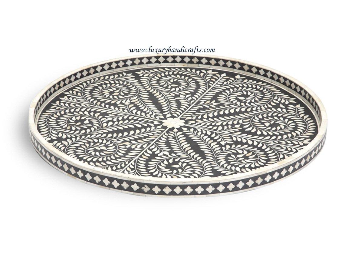 Round Bone Inlaid Tray Moroccan Design