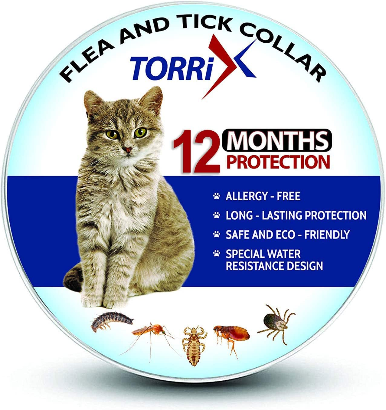 TORRIX Cats Flea and Tick Collar - 12-Month Flea Prevention Cat Collar - Adjustable and Waterproof Cat Flea and Tick Control [2020 Upgrade Version]