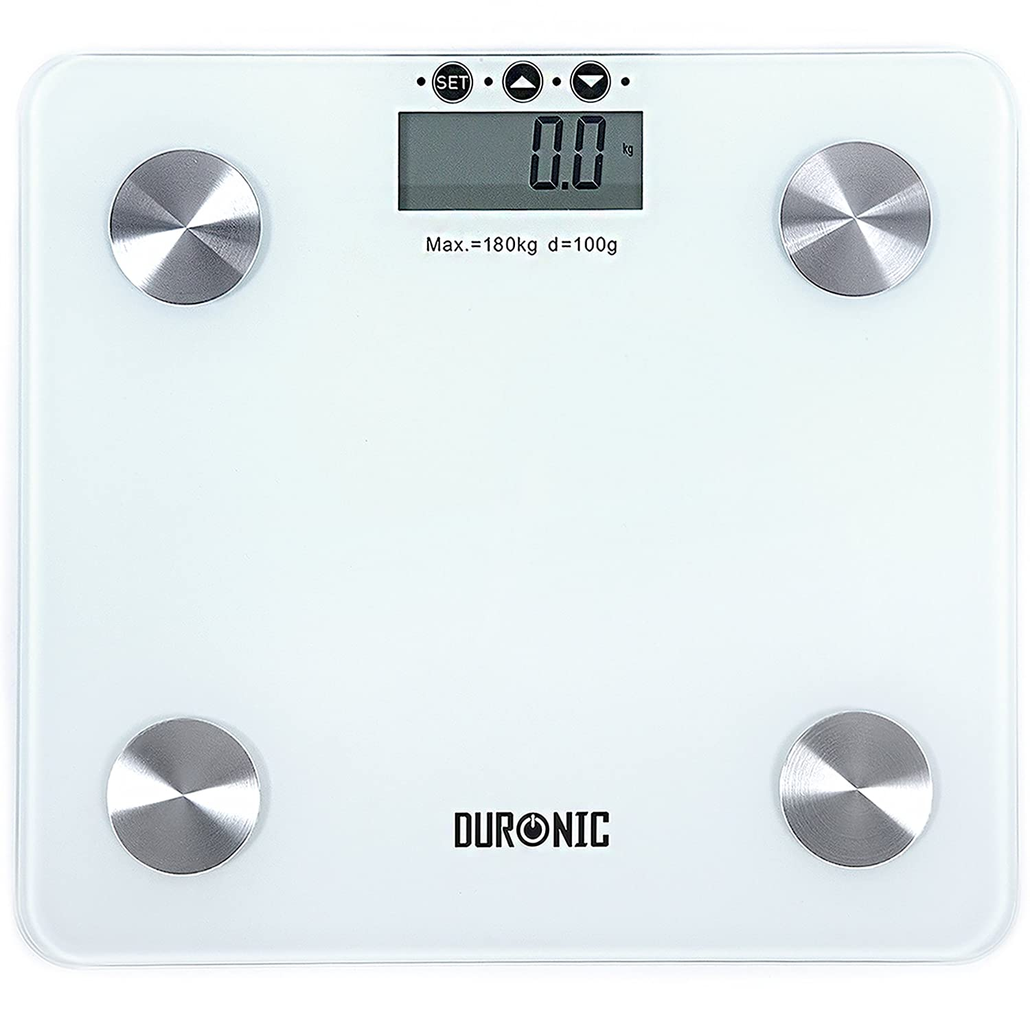 Bathroom Scales Body Analyser - Duronic bs301 touch sense body fat analyser 180kg electronic slim digital display black glass platform