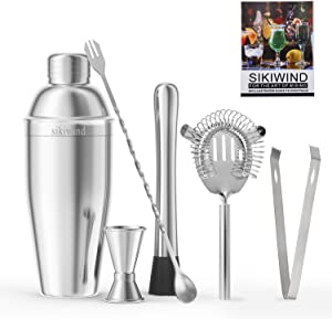 25 oz Cocktail Shaker Bar Set, Stainless Steel Martini Shaker, Mixing Spoon, Muddler, Measuring Jigger, Liquor Pourers with Dust Caps and Manual of Recipes, Professional Bar Tools
