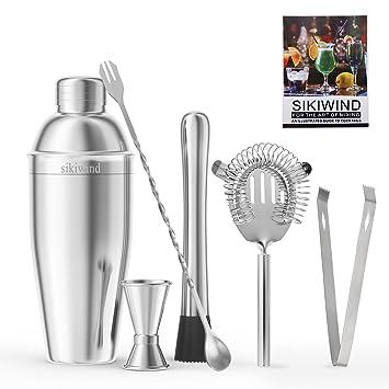 6pcs Vinekraft Cocktail Making Set Cocktail Accessories Professional Cocktail Shaker Set with Jigger Strainer Muddler /& Spoon