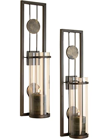 64d7c03e88 Danya B Contemporary Metal Wall Sconces with Antique Patina Medallions -  Set of 2