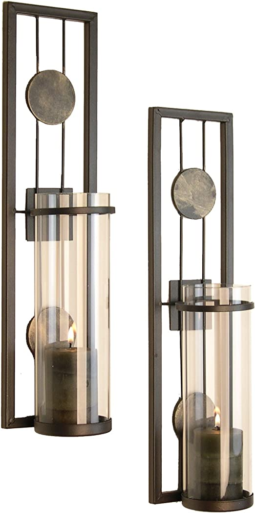Amazon Com Danya B Set Of Two Wall Sconces Metal Wall Decor Antique Style Metal Sconce For Private And Office Use Decorative Metal Wall Scone Candle Holder Home Kitchen