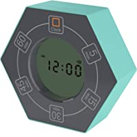 Znewtech Home & Office Timer with Clock, 5,15, 30, 45, 60 Minute Preset Countdown Timer, Easy-to-Use Time Management Tool (Cyan)