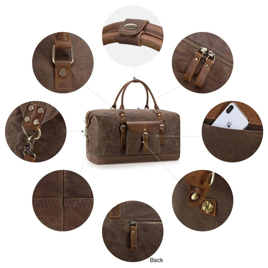 Plambag Oversized Duffel Bag, Waterproof Canvas Leather Trim Overnight Luggage Bag(Coffee) by Plambag (Image #6)