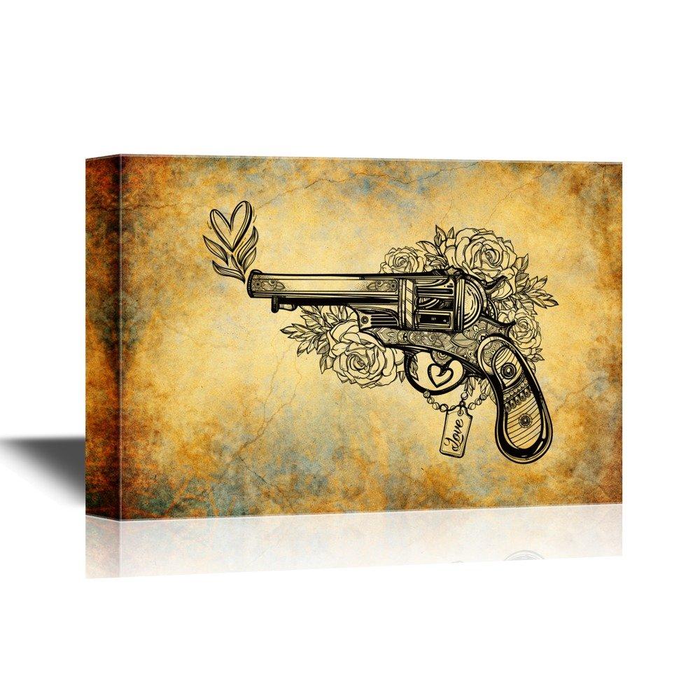 Gun on Vintage Background Gallery - Canvas Art   Wall26