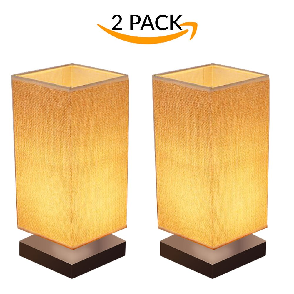 2-pack-modern-wooden-lamp-with-fabric-shade-for-bedroom,-living-room,-dresser,-bookcase,-night-stand,-baby-room,-college-dorm,-office,-study by marquee