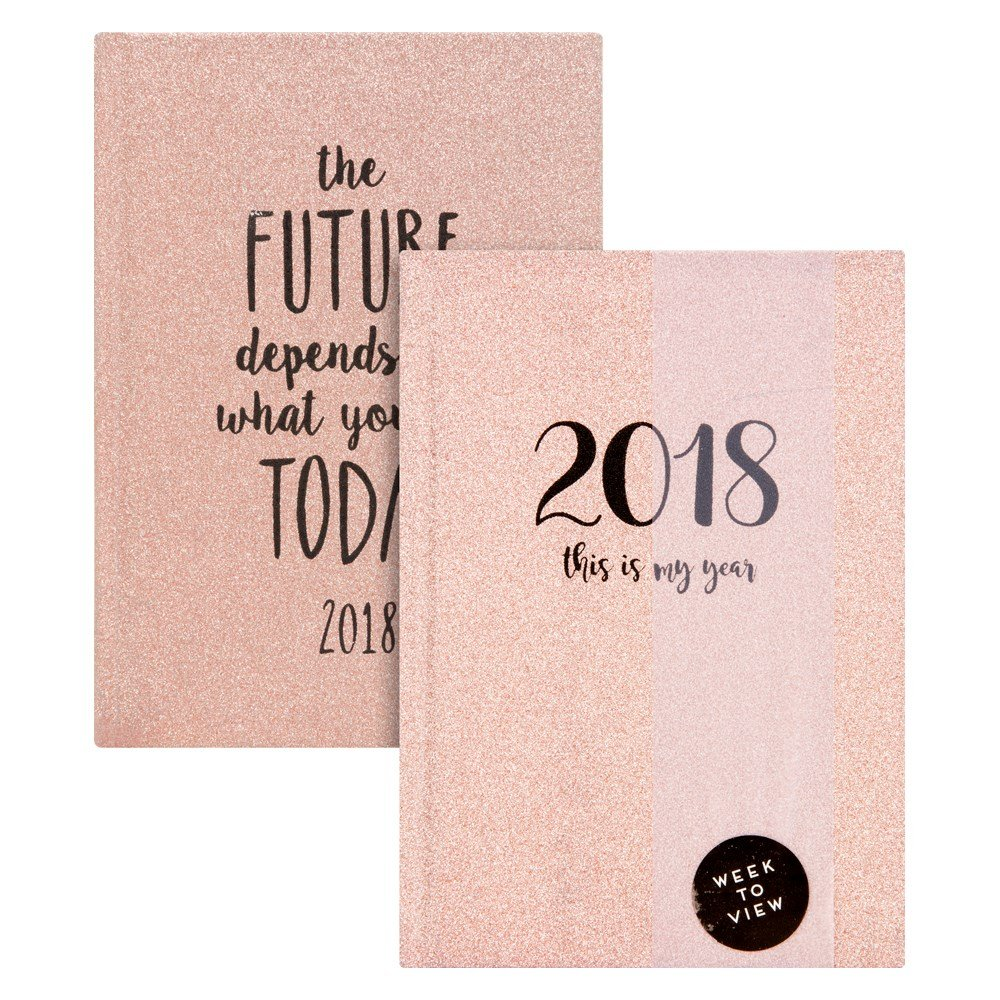 1x 2019 A6 Week to view Glitter Diary Hardback Cover Design at Random