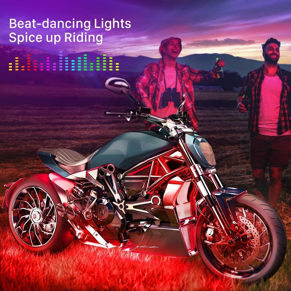 Motorcycle H.D LED Neon Under Glow Lights pod Kit with Bluetooth Music Active
