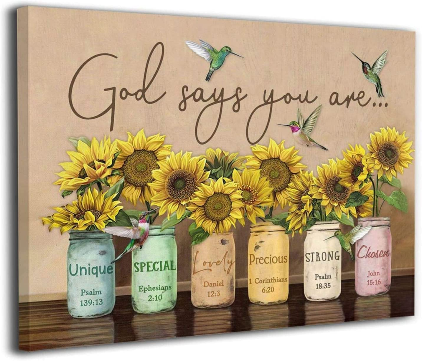 BEEPBOOP God Says You Are Hummingbird Sunflower Canvas Wall Art Prints Room Decor For Home Office Apartment Wall Decor Unframed Poster Wall Decoration Ready To Hang 12x8 In