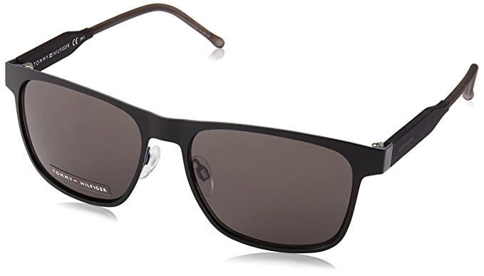 a5e89ce6a371 Tommy Hilfiger Th1394s Rectangular Sunglasses Matte Black Brown Gray, 56 mm