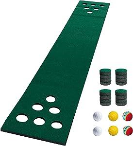 NAIZEA Golf Putting Mat Game Set, Golf Putting Green Mat, Golf Practice Training Aid, Foldable Golf Training Mat, Golf Practice Putter Equipment for Indoor
