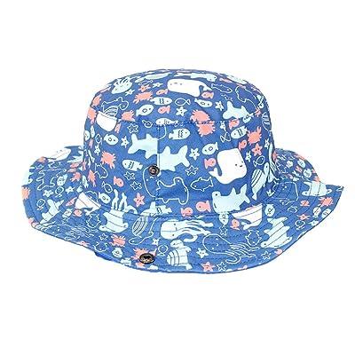 9d018d7a771 ACTLATI Toddler UV Protection Sun Hat Kids Sea Animals Cotton Bucket Hat  W Chin Strap