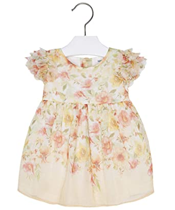 405b1d48ba15 Amazon.com: Mayoral Chic Baby Girls 3M-24M Yellow/Orange Flutter Sleeve  Floral Chiffon Social Dress: Clothing