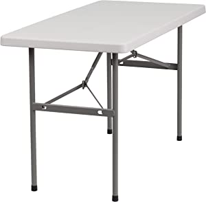 Flash Furniture 4-Foot Granite White Plastic Folding Table