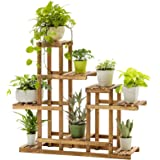 """Jesaisque 3 Tier Wooden Plant Stand Carbonized 8 Potted Flower Shelf Display Rack Holder 33.5"""" High Flower Stand for…"""