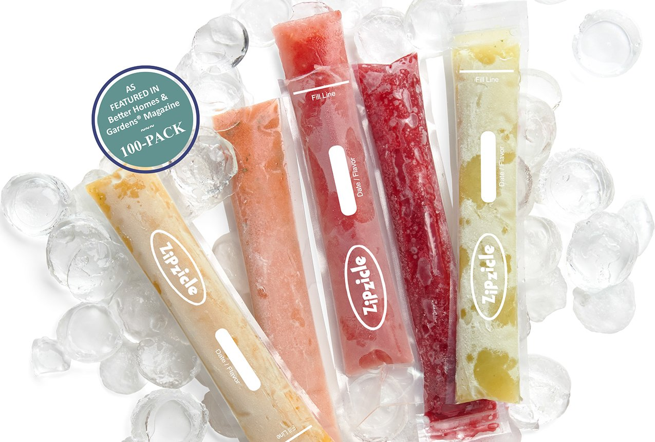 Zipzicle 100-PACK Ice Pop Pouches ORIGINAL Patented Safe by Zipzicle (Image #1)