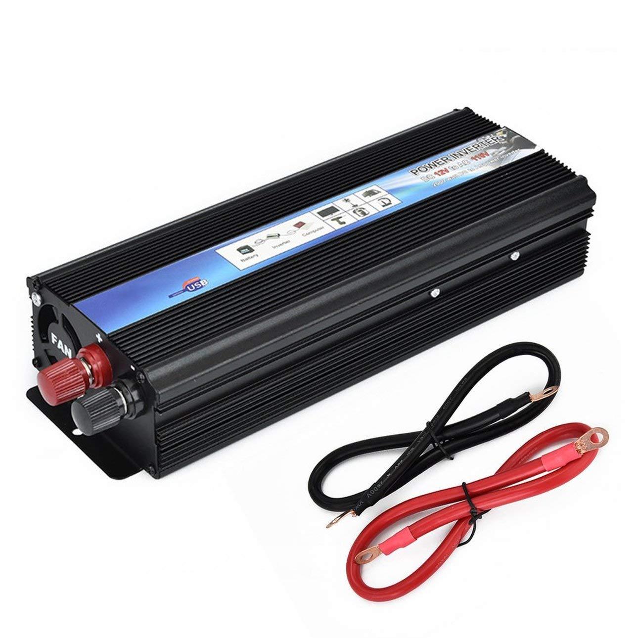 Liobaba 12V DC to AC 110V/220V Auto Inverter 2000W Car Power Modified Sine Wave Inverter(Color:Black)