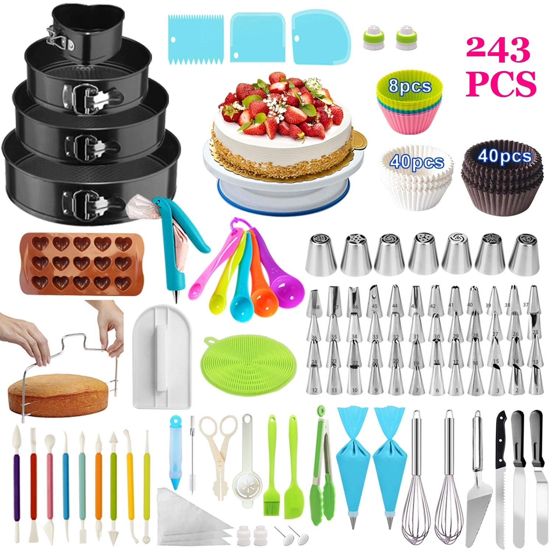 Cake Decorating Supplies,243 PCS Cake Decorating Kit 4 Packs Springform Cake Pans, Cake Rotating Turntable,48 Piping Icing Tips,7 Russian Nozzles, Baking Supplies,Cupcake Decorating Kit by Taiker
