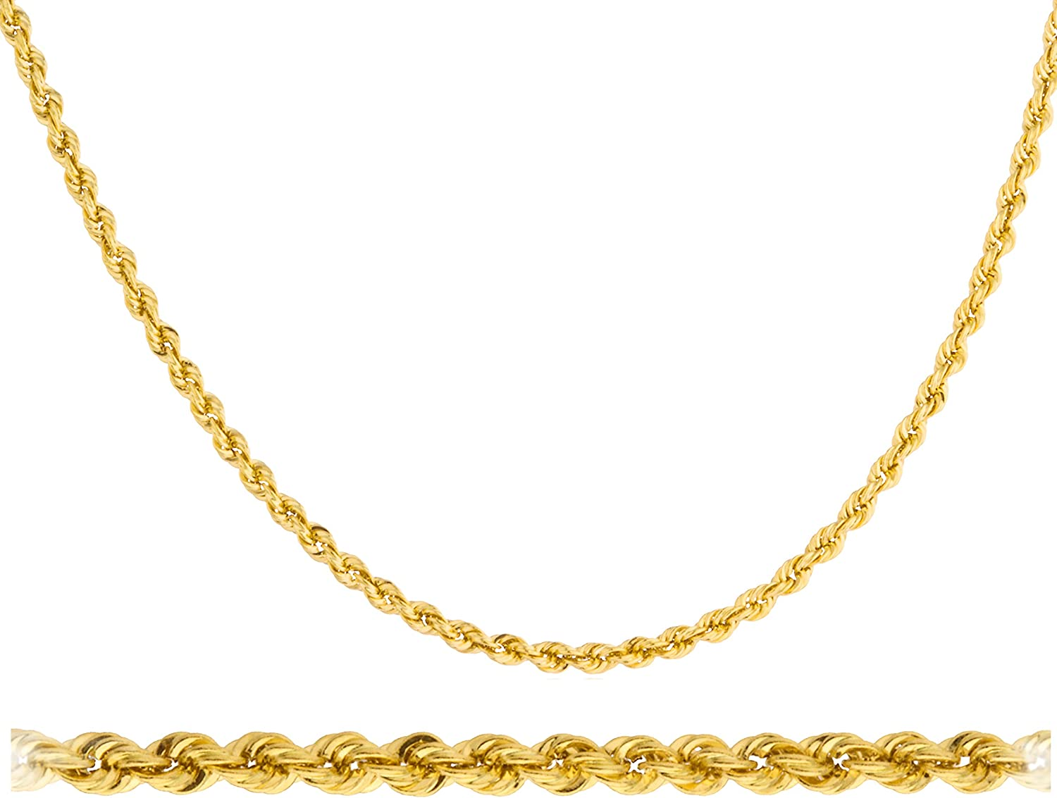 """14K Yellow Gold 2mm Hollow Rope Link Chain Necklace 24/"""" Lobster Clasp"""