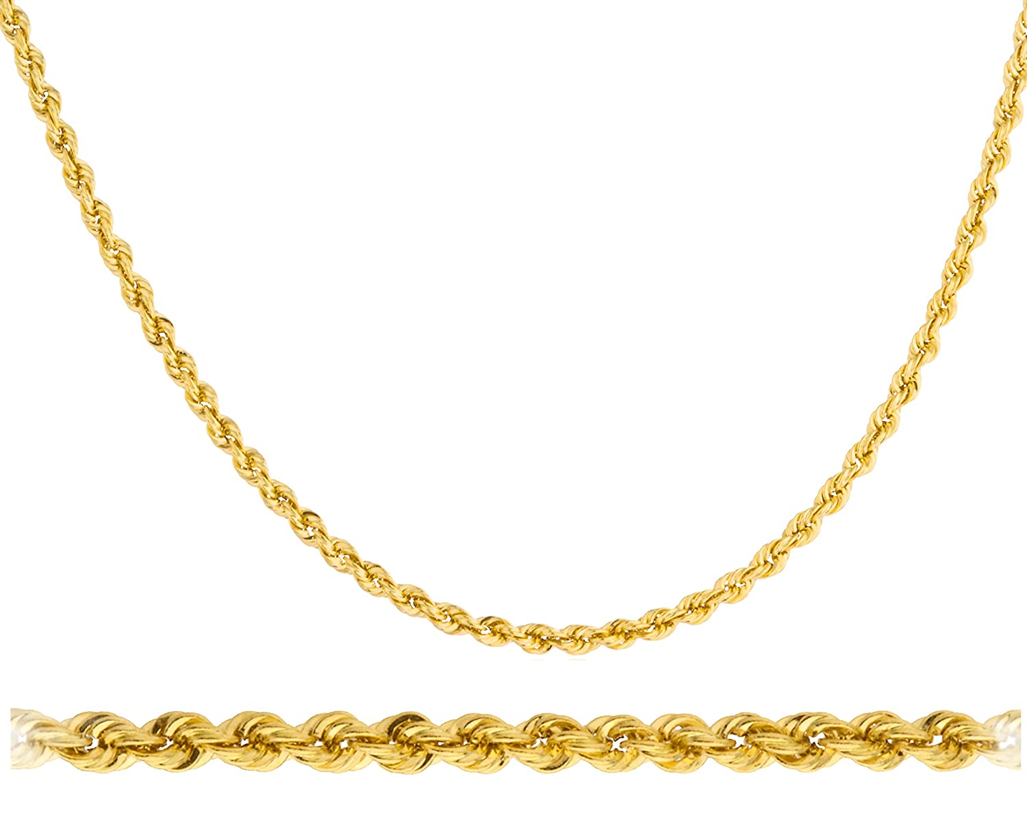 200359725c7ef Amazon.com: JOTW 14k Yellow Gold 2mm Rope Chain Necklace - 16