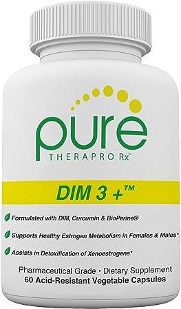 DIM 3 + (2 Month Supply) 60 Vegan Caps   DIM-200mg, Curcumin-250mg & BioPerine-2.5mg   Supports Healthy Estrogen Metabolism in Men & Women   Natural Aromatase Inhibitor   Pharmaceutical Grade