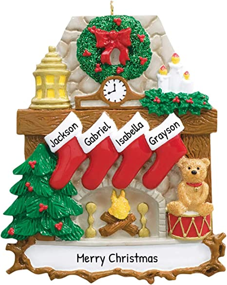 Keepsake Christmas Ornament Year Dated, Filled With Fun! Stocking 2021 Amazon Com Personalized Fireplace Stockings Family Of 4 Christmas Tree Ornament 2021 Wood Stone Chimney Wreath Red Trumpet Teddy Child Friend Tradition Gift Year Cozy Mother Father Kid Free Customization Home Kitchen